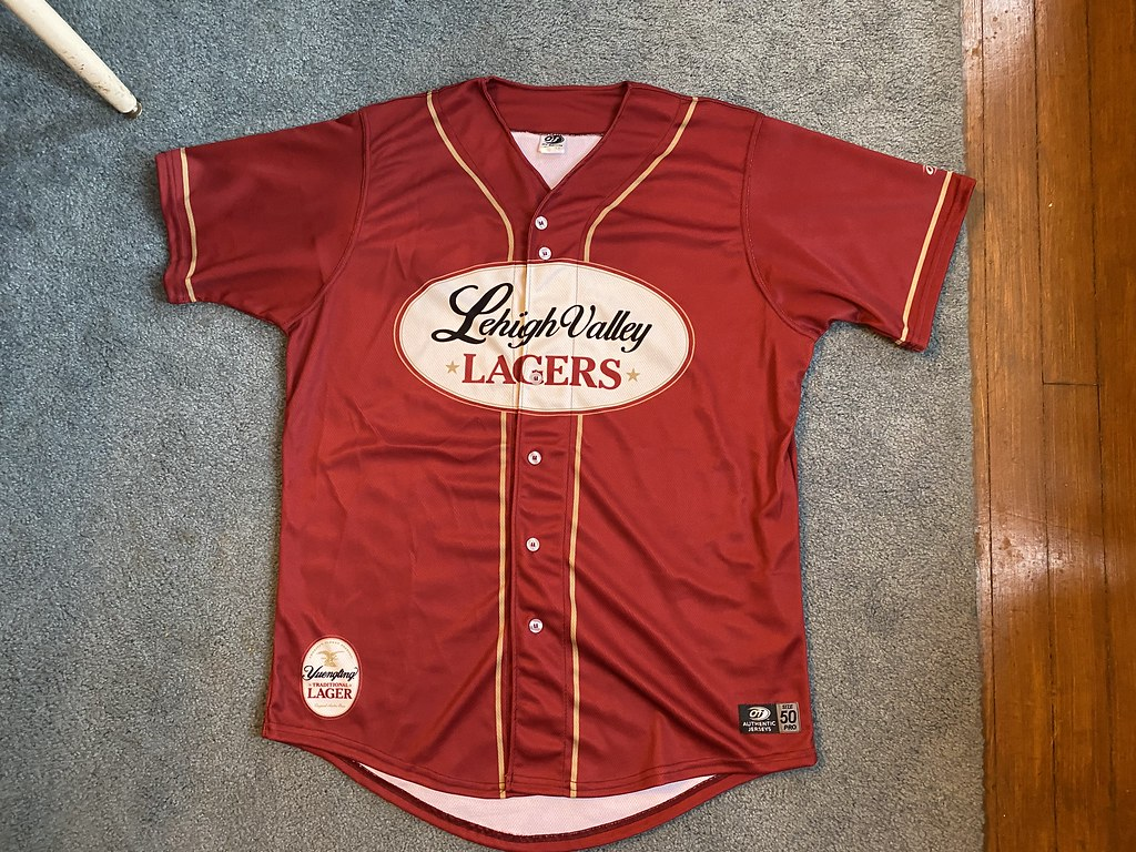 """Lehigh valley iron pigs game worn Logan Moore """"lagers"""""""