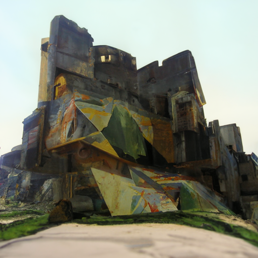'a cubist painting of a castle' CLIP Guided Diffusion v2 Text-to-Image