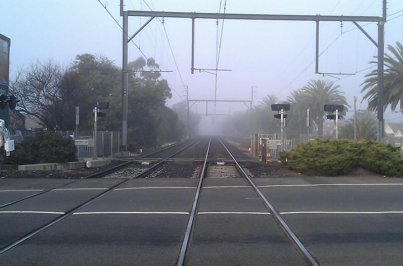 Bentleigh station fog, July 2011