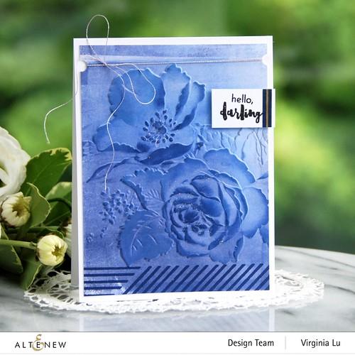 Altenew-Rose Boiuquet 3D Embossing Folder-Woven Stripes Stamp Set-Glacier Cave Mixed Media Ink Bundle