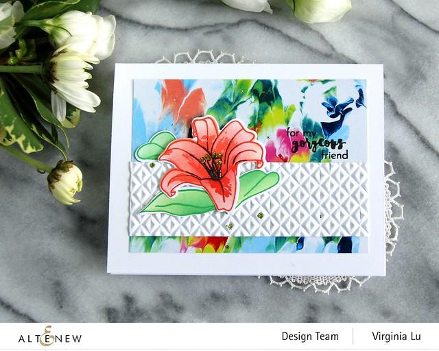 Altenew-Crystal Wall 3D Embossing Folder-Inky Lily Stamp Set-Inky Lily Die Set-Inky Lily Stencil Set- -002