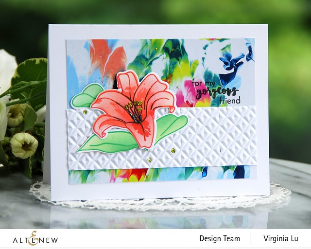 Altenew-Crystal Wall 3D Embossing Folder-Inky Lily Stamp Set-Inky Lily Die Set-Inky Lily Stencil Set-