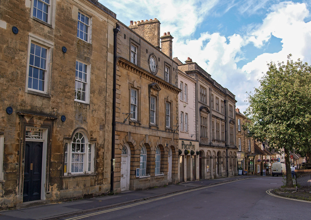 The western, 'downhill' side of Chipping Norton market place. Oxfordshire