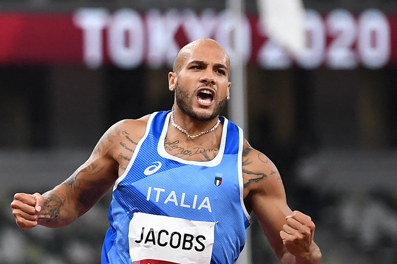 Lamont Marcell Jacobs奪下百米金牌。【AFP授權】