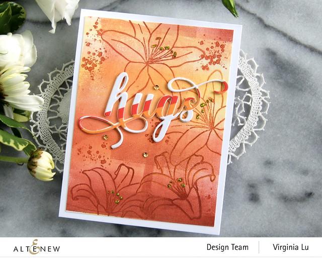 AltenewInky Lily Stamp Set-Summer Afternoon Mixed Media Ink Bundle-Fancy Hugs Die Set-Red Sunset Slim Washi Tape-003