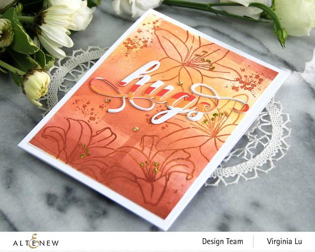 AltenewInky Lily Stamp Set-Summer Afternoon Mixed Media Ink Bundle-Fancy Hugs Die Set-Red Sunset Slim Washi Tape-002
