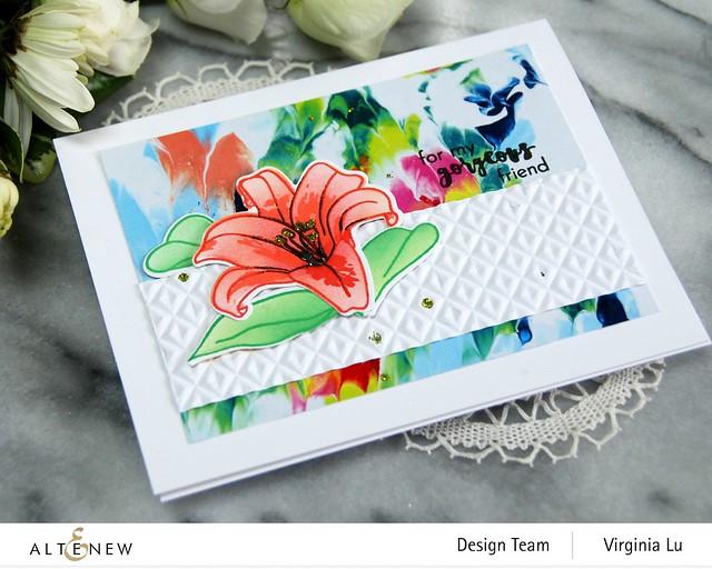 Altenew-Crystal Wall 3D Embossing Folder-Inky Lily Stamp Set-Inky Lily Die Set-Inky Lily Stencil Set- -001