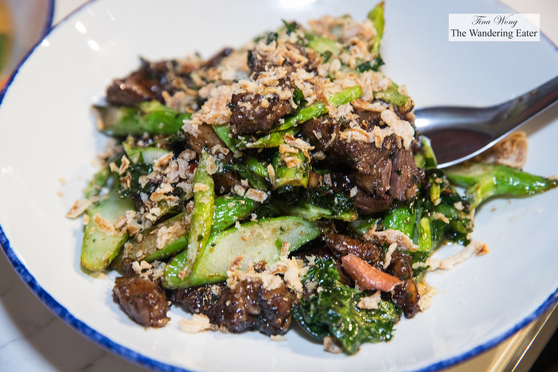 XO wagyu ribeye - 6-ounce wagyu ribeye steak, grilled, sliced, then finished in the wok with Chinesebroccoli and house XO sauce