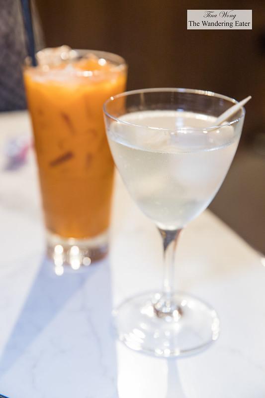 Thai iced tea (non-alcoholic) and Thai martini (lychee Wheatley vodka, carpano dry vermouth, orange bitters)