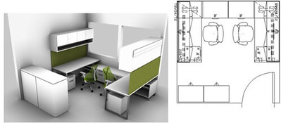 An office space layout diagram