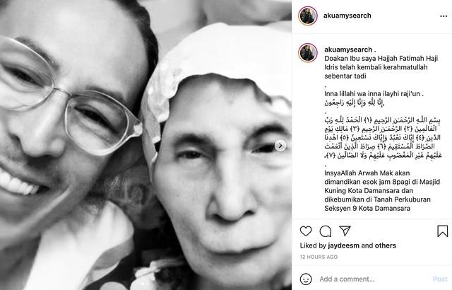 Ibu Amy Search Meninggal Dunia Di Usia 88 Tahun, Jenazah Selamat Dikebumikan