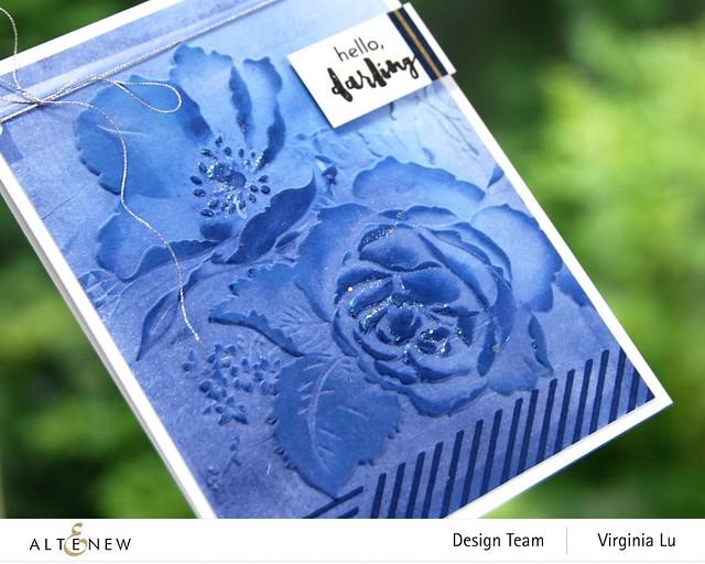 Altenew-Rose Boiuquet 3D Embossing Folder-Woven Stripes Stamp Set-Glacier Cave Mixed Media Ink Bundle-004
