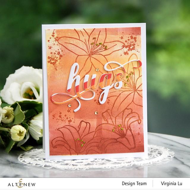 AltenewInky Lily Stamp Set-Summer Afternoon Mixed Media Ink Bundle-Fancy Hugs Die Set-Red Sunset Slim Washi Tape-001