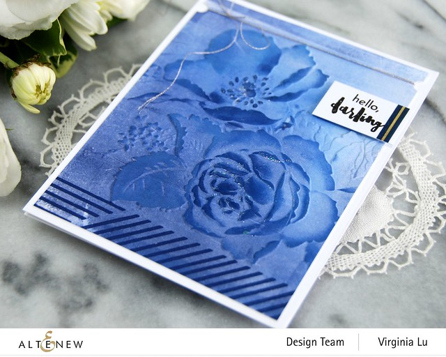 Altenew-Rose Boiuquet 3D Embossing Folder-Woven Stripes Stamp Set-Glacier Cave Mixed Media Ink Bundle-002