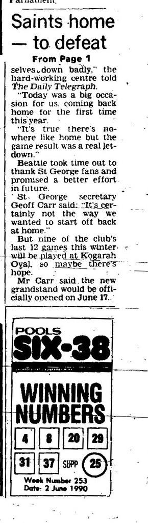 St George Return to Kogarah Ovel June 4 1990 daily telegraph 1-2 (2)