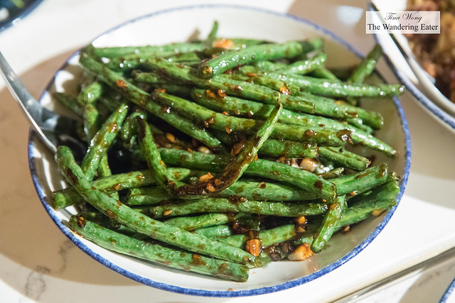 Garlic green beans - green beans sautéed with garlic, soy sauce, and white pepper