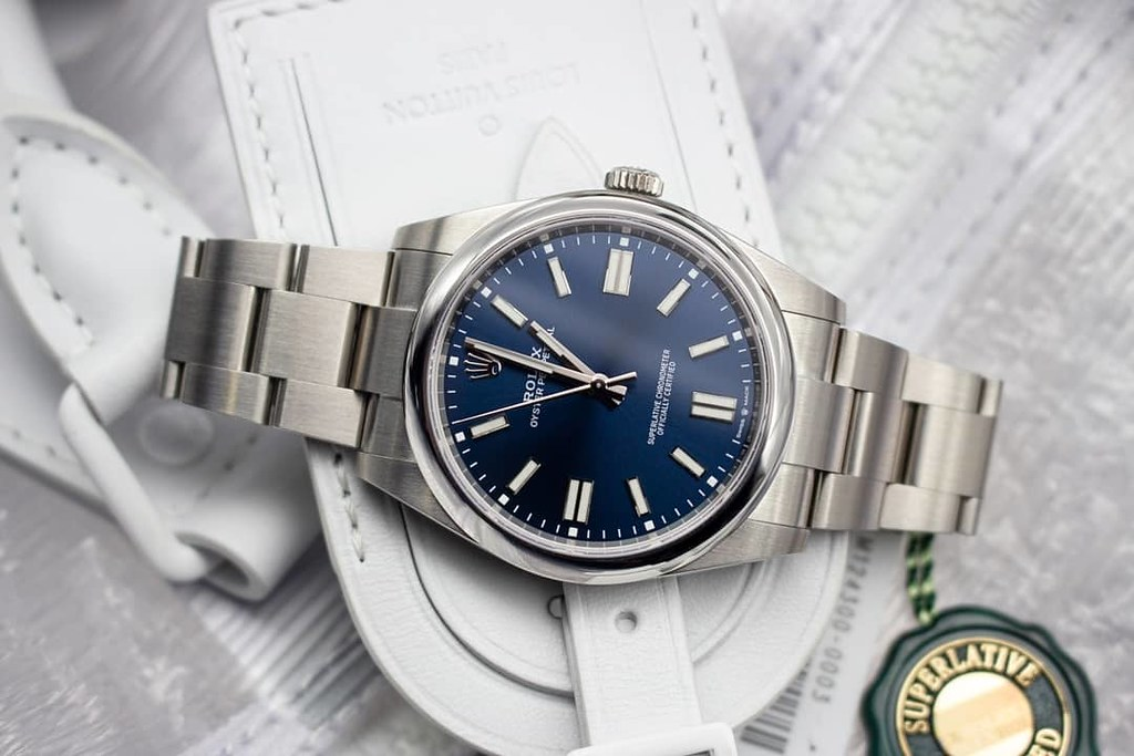 'So Clean, So Elegant Blue Baton Dial' - Rolex Oyster Perpetual 41 (Ref 124300) 2021 - £6,600  For enquiries or to arrange a viewing :-: Call 0203 380 1542 Website :-: www.imperialtime.co.uk Email :-: info@imperialtime.co.uk