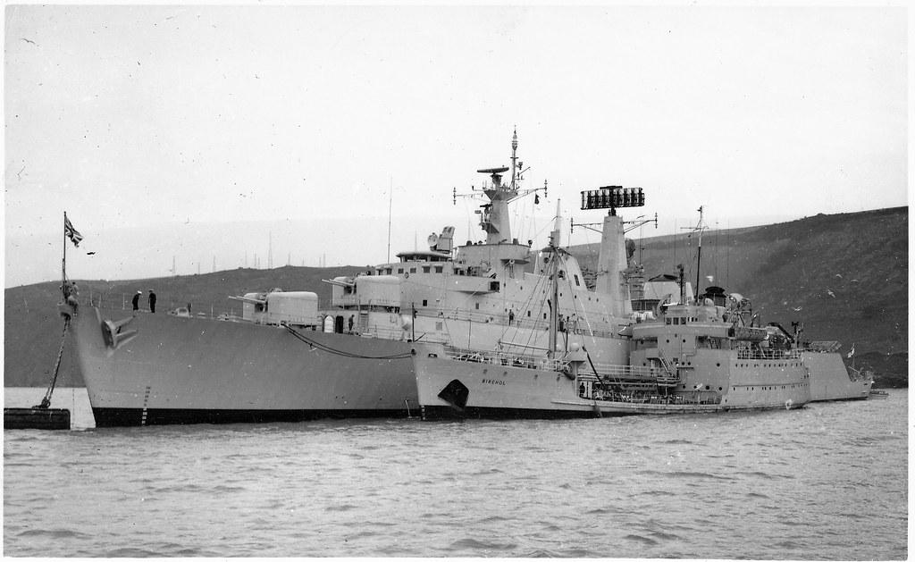 HMS DEVONSHIRE ALONGSIDE RFA BIRCHOL