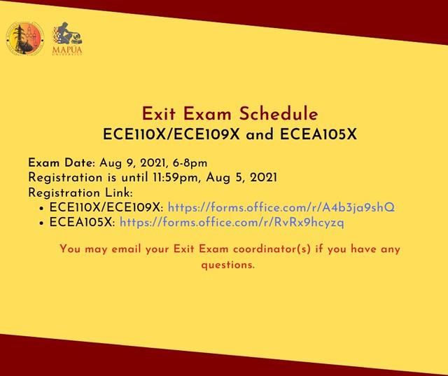 Exit Exam: ECEA105X and ECE110X/ECE109X