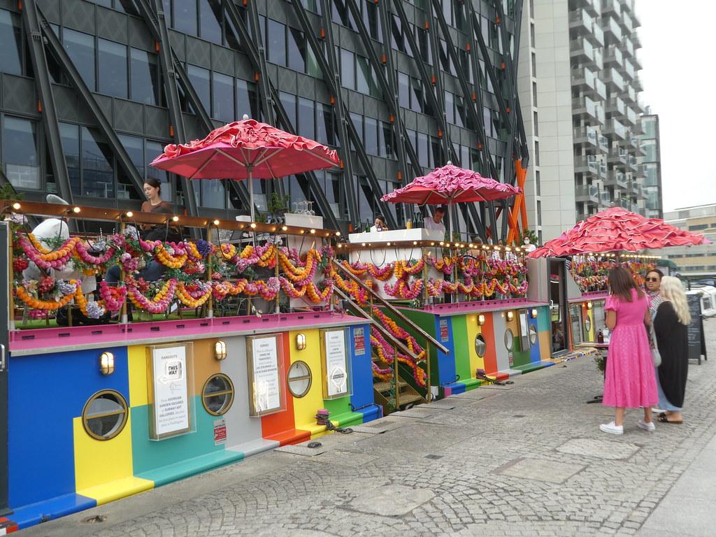 A colourful floating restaurant at Paddington Basin, London
