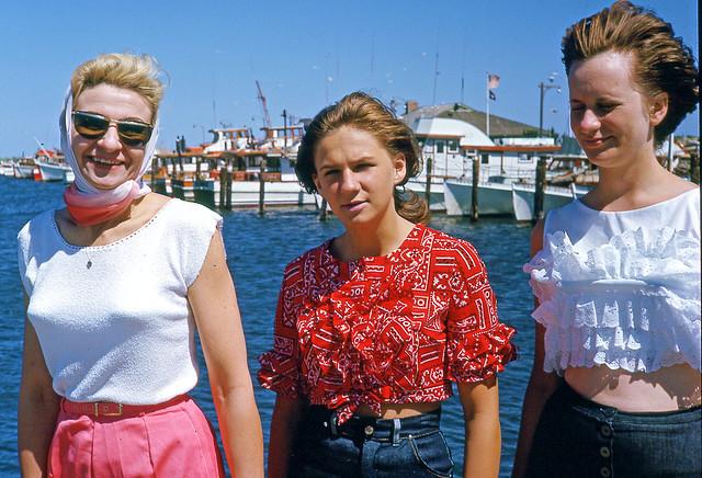Kodachrome Slide of Woman & Two Teen Girls at Marina, 1963