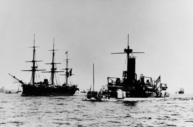 USS Miantonomah (BM-5) right  In an East Coast harbor, circa 1892. French frigate ARETHUSE.