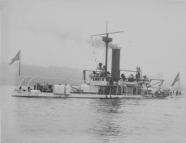 USS Miantonomah (BM-5) at anchor, at New York during the Columbian Naval Parade, 27 April 1893.
