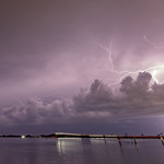 1. August 2021 - 23:01 - *ZAP*  Sunday night thunderstorms over the Indian River Lagoon and the Pineda Causeway seen from Melbourne, Florida.   Pic: me