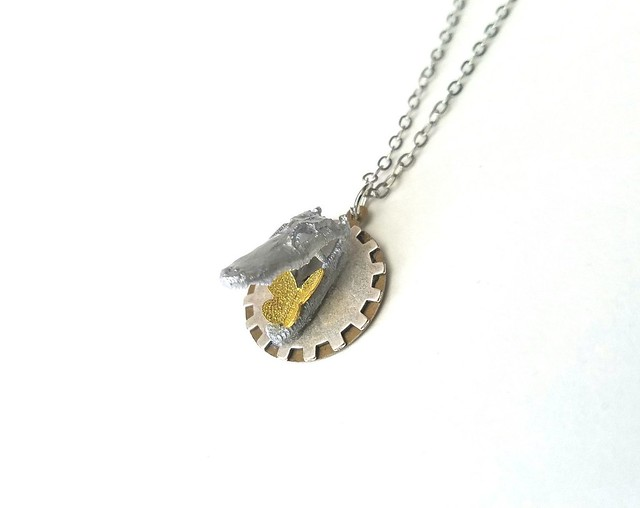 Steampunk Alligator and Butterfly Gear Necklace