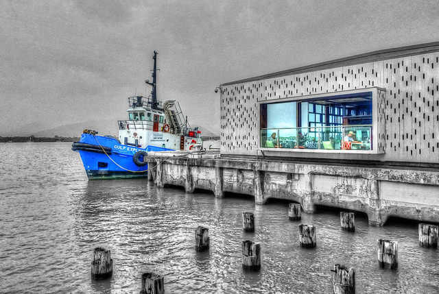 Wharf One Cafe and the Gulf Explorer - May 18, 2015