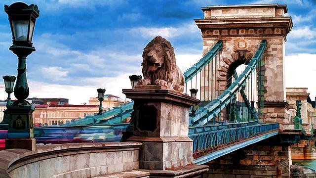 Szécsényi Lánchid/Chain Bridge, Budapest, Hungary