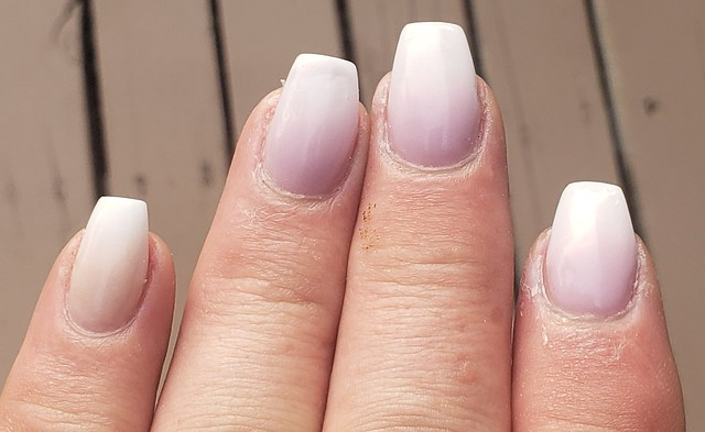 Lavender to white ombre nails