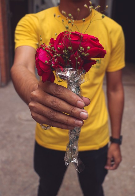 Stock image of unidentified man holding red rose