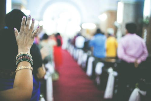 Stock image of Asian church service