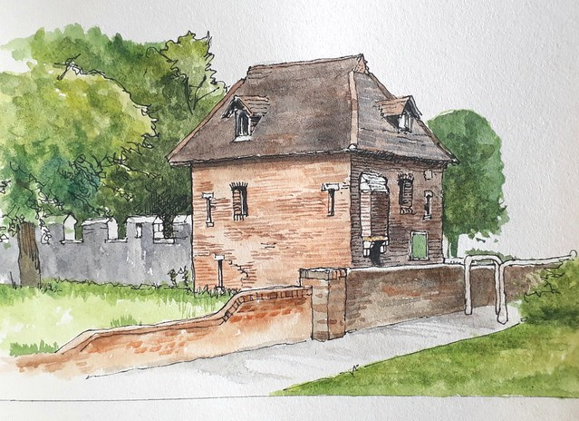 The Red Tower, York: A relaxed bit of watercolour