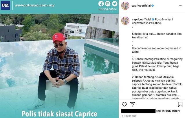 Caprice Tulis Catatan Terakhir,  Akaun Instagram Mungkin Kena Padam