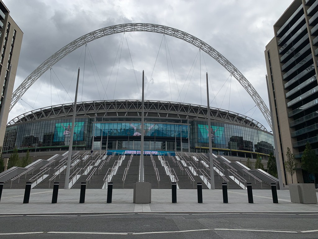 View of Wembley Stadium looking towards the Bobby Moore entrance from Olympic Way. 2/8/21