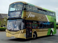 Go North East Xlines Wright Streetdeck on the X31 to Newcastle with two dest blinds as it a 70 reg!