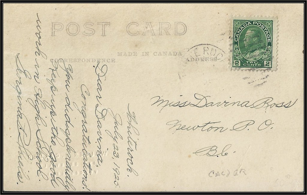 White Rock, B.C. Postal History - 23 July 1925 - WHITE ROCK, B.C. (duplex cancel) to Newton, B.C. (Georgina Shiels correspondence)
