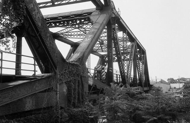 Metra train crossing rail bridge