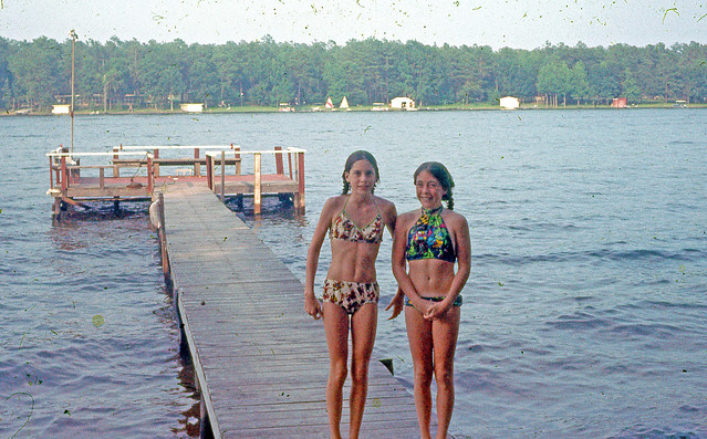 Slide of Two Girls in Swimsuits on Pier, 1970s