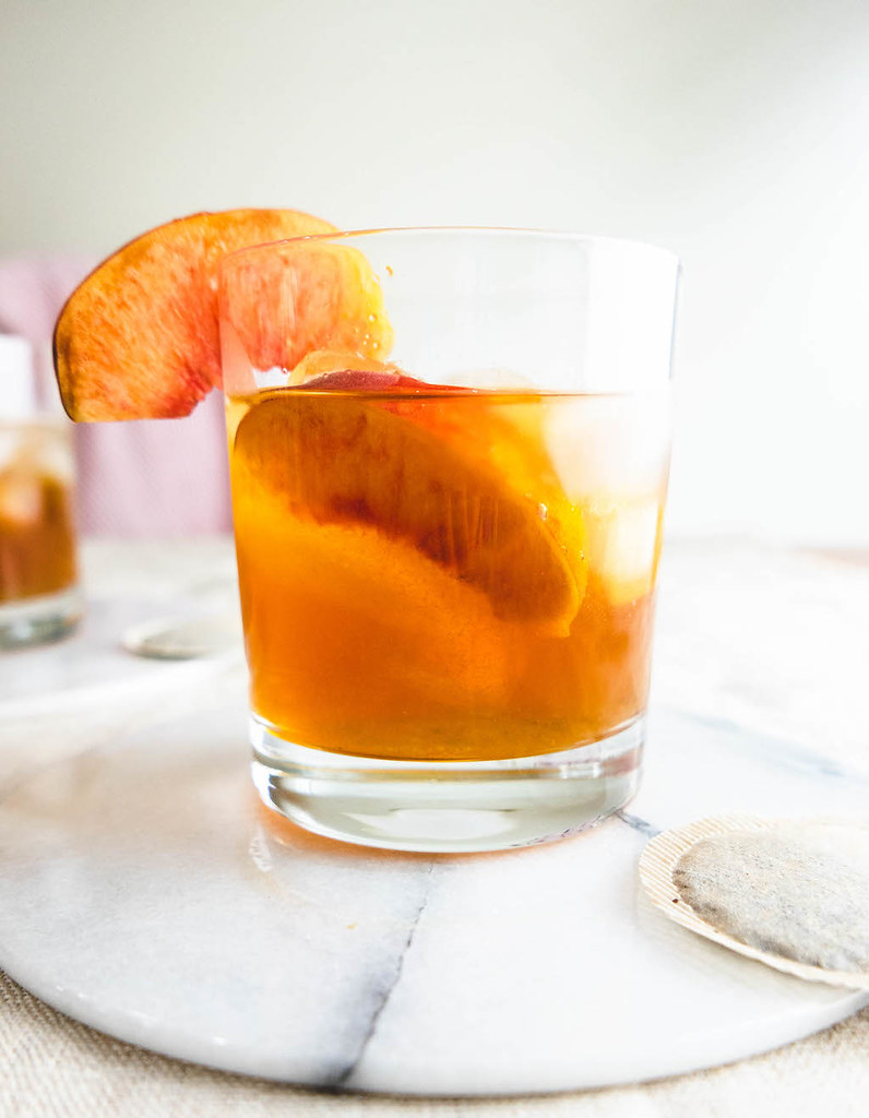 A side shot of the sweet tea cocktail.