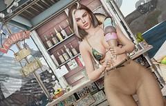 En la playa helado y tequila.  -Raw photo-