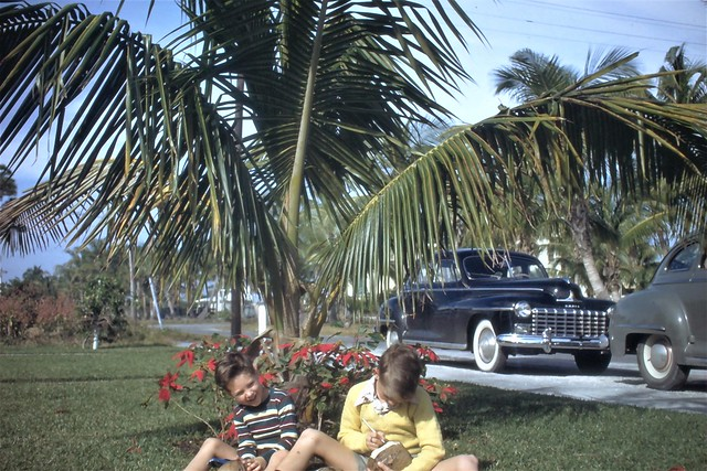 Untitled 1940s kodachrome slide. A late 1940s Dodge in the background. No other info unfortunately.