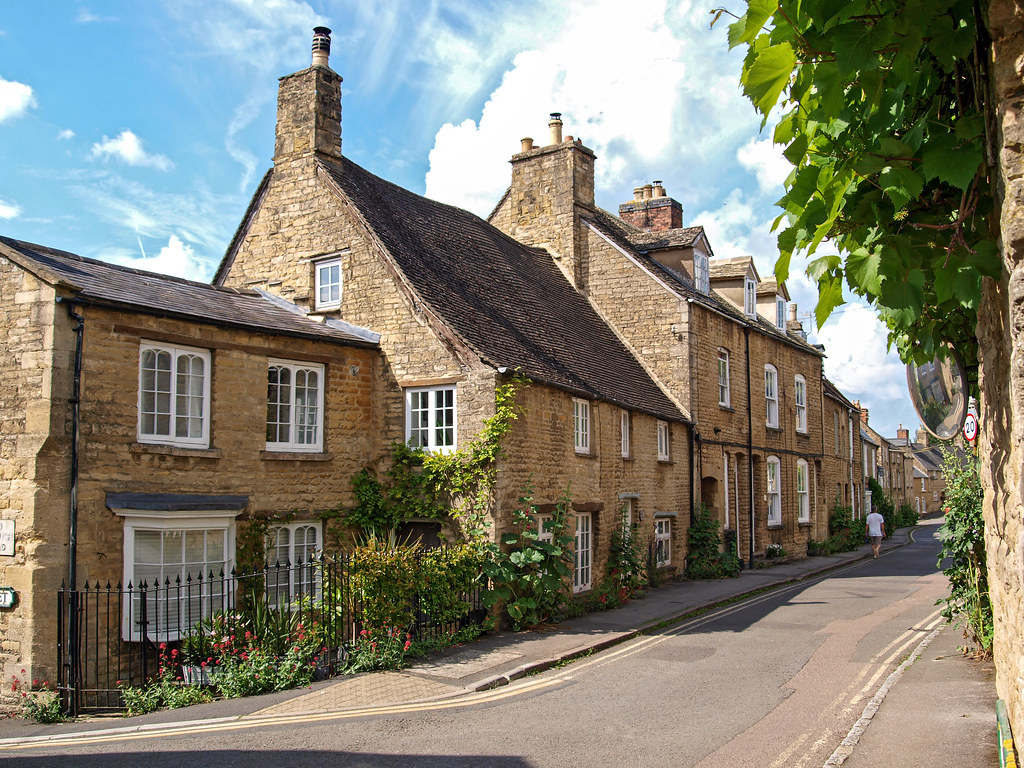 Lovely old fashioned Spring Street, Chipping Norton, Oxfordshire.
