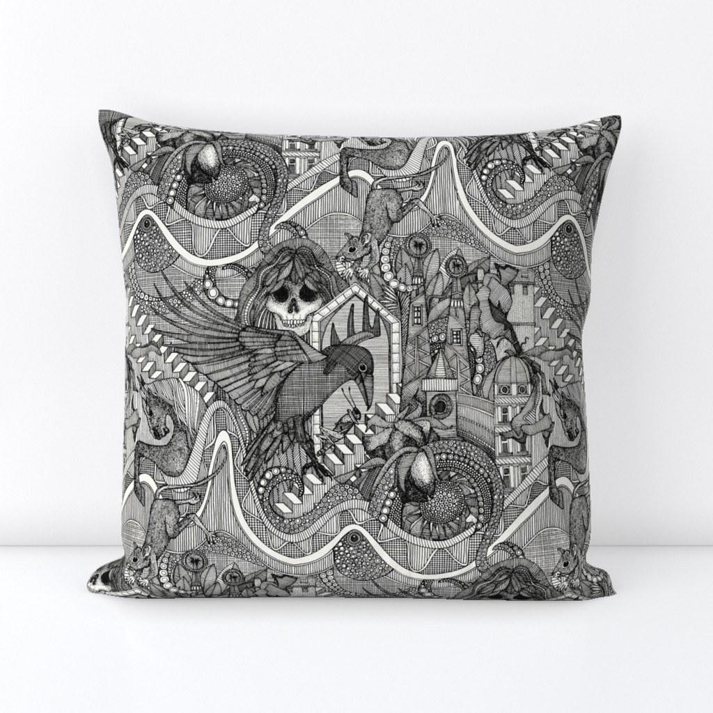 phantasmagoria black small ~ spoonflower throw pillow