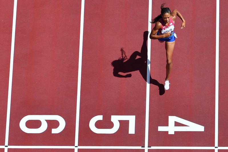 35歲美國田徑女王Allyson Felix預利通過400公尺預賽。【AFP授權】