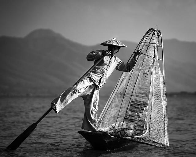 Leg rowing fishermen, Inle lake, Myanmar