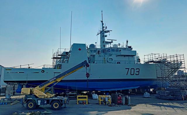 HMCS Edmonton (MM-703) at Point Hope Shipyard, Victoria