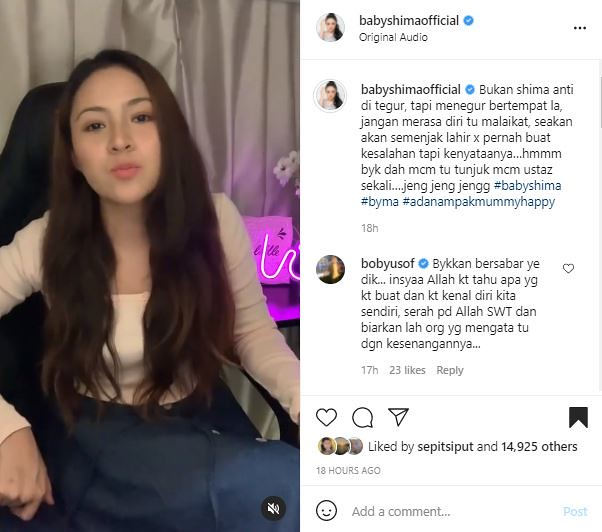 Baby Shima Kecewa Dengan Komen Netizen Persoalkan Solat Gara-Gara Tidak Tutup Aurat